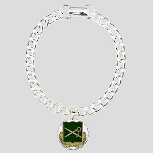 385th MP Battalion Crest Charm Bracelet, One Charm