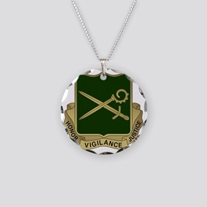 385th MP Battalion Crest Necklace Circle Charm