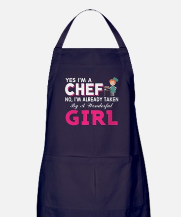 Girl And The Chef T Shirt Apron (dark)