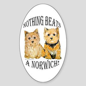 Nothing Beats a Norwich Terri Oval Sticker