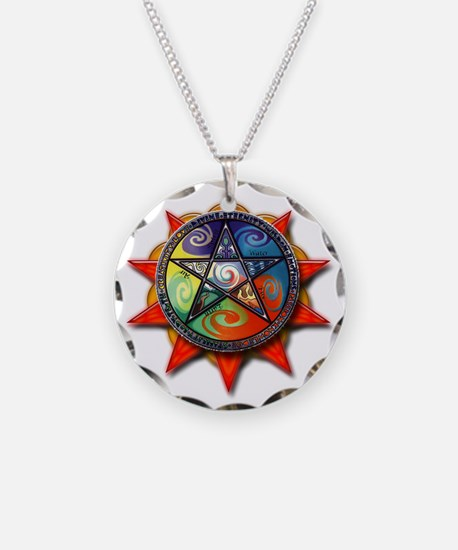 4 elements pentacle red Necklace