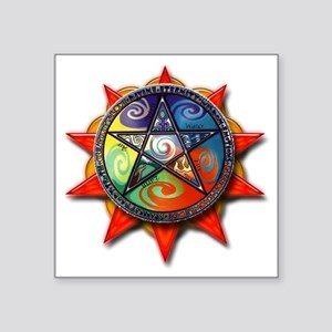 "4 elements pentacle red Square Sticker 3"" x 3"""