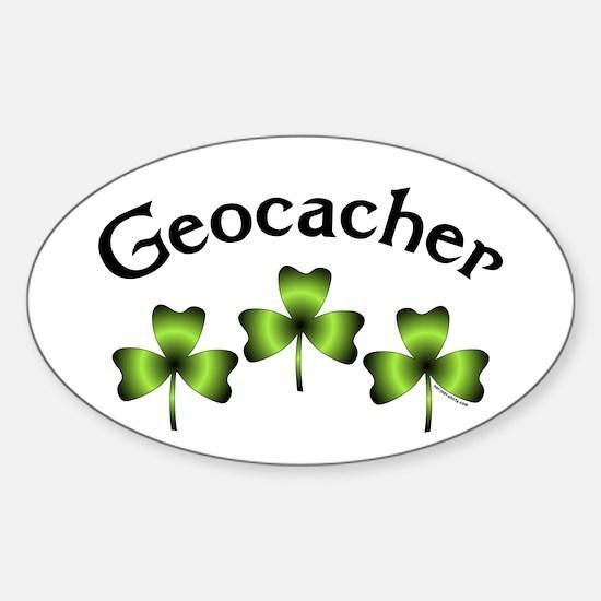 Geocacher 3 Shamrocks Sticker (Oval)