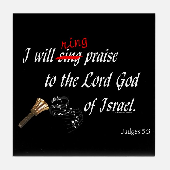 Ring Praise Black Tile Coaster
