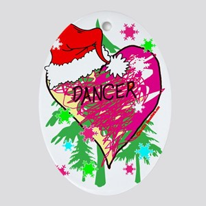 dancer scribble heart christmas stoc Oval Ornament