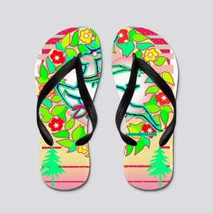 reindeer dancer with wreath copy Flip Flops