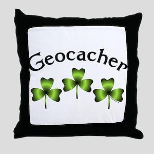 Geocacher 3 Shamrocks Throw Pillow