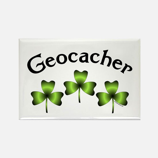 Geocacher 3 Shamrocks Rectangle Magnet