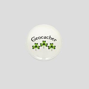 Geocacher 3 Shamrocks Mini Button