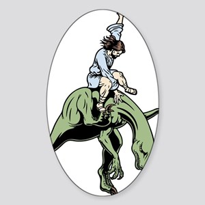 jesus-raptor-col-T Sticker (Oval)