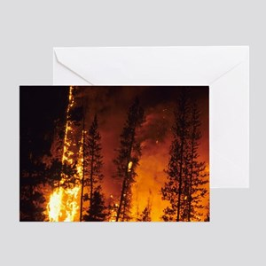 A wildfire in the Boise National For Greeting Card