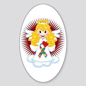 Angel-Watching-Over-Me-Autism-Ribbo Sticker (Oval)