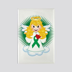 Angel-Watching-Over-Me-Green-Ribb Rectangle Magnet