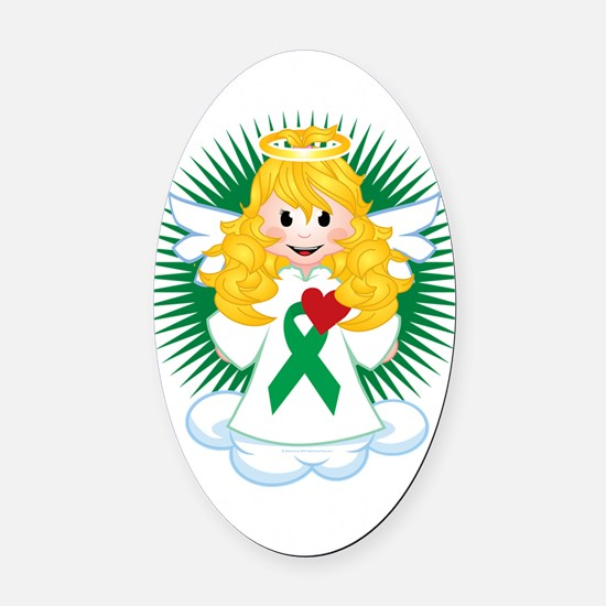 Angel-Watching-Over-Me-Green-Ribbo Oval Car Magnet