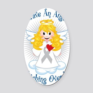 Angel-Watching-Over-Me-Grey-Ribbon Oval Car Magnet