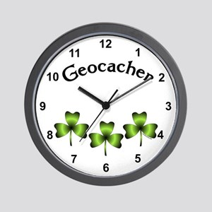 Geocacher 3 Shamrocks Wall Clock
