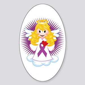 Angel-Watching-Over-Me-Purple-Ribbo Sticker (Oval)