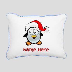 Penguin Santa Rectangular Canvas Pillow