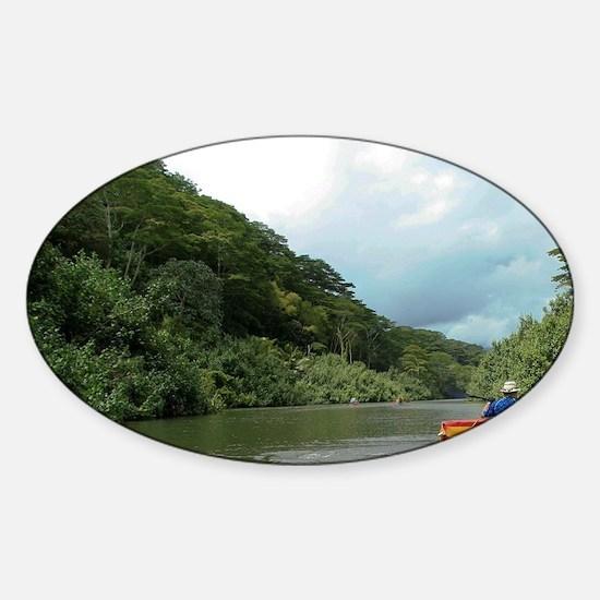 Hawaii, Kalihiwai Stream. Kayaking  Sticker (Oval)