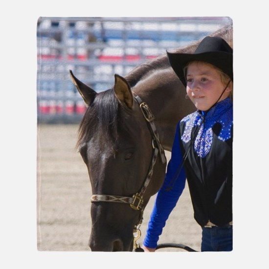 Girl showing her 4-H blue ribbon win Throw Blanket