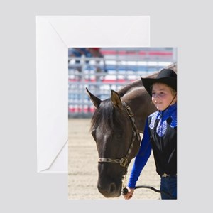 Girl showing her 4-H blue ribbon win Greeting Card