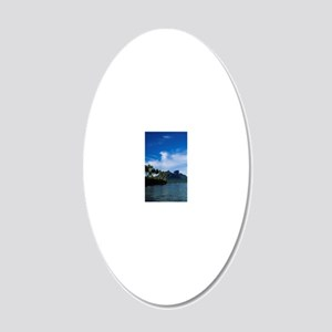 Boating in a Hawaiian cove 20x12 Oval Wall Decal