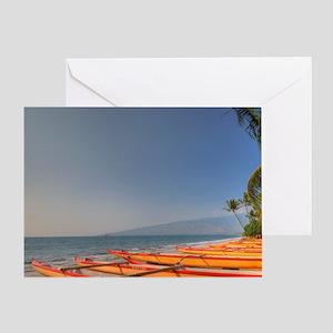 Kayaks on Kihei Beach, Maui, Hawaii Greeting Card