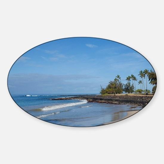 Hawaii, Poipu. Brennnecke Beach. Sticker (Oval)