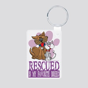 Rescued-Is-My-Favorite-Bre Aluminum Photo Keychain