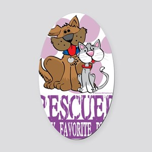 Rescued-Is-My-Favorite-Breed Oval Car Magnet