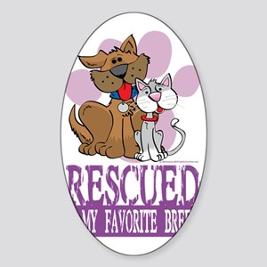 Rescued-Is-My-Favorite-Breed Sticker (Oval)