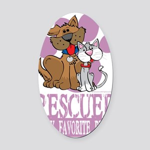 Rescued-Is-My-Favorite-Breed-blk Oval Car Magnet