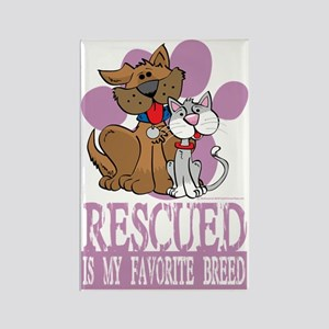 Rescued-Is-My-Favorite-Breed-blk Rectangle Magnet