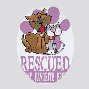 Rescued-Is-My-Favorite-Breed-blk Oval Ornament