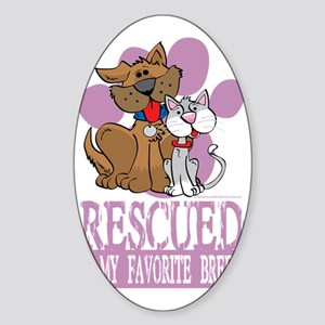 Rescued-Is-My-Favorite-Breed-blk Sticker (Oval)