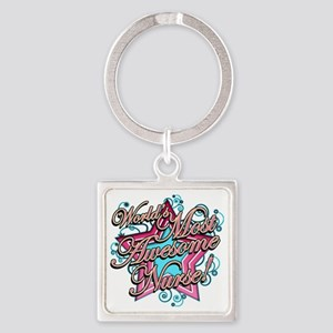 Worlds Most Awesome Nurse Square Keychain