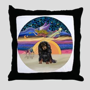 R - Xmas Star - Long Haired Dachshund Throw Pillow