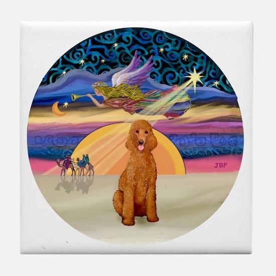 Xmas Star - Apricot Standard Poodle Tile Coaster