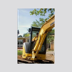 Track mounted backhoe on a constr Rectangle Magnet