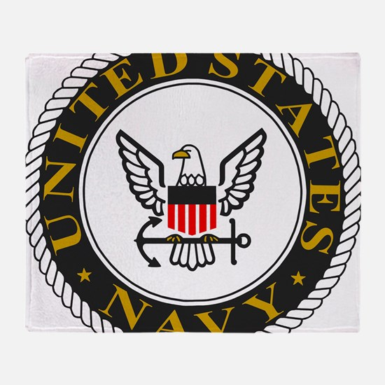 Navy-Logo-Black-White-Gold Throw Blanket