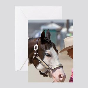 Girl showing her Pinto horse to 4-H  Greeting Card