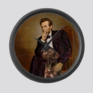 T-Lincoln - Chocolate Labrador 11 Large Wall Clock