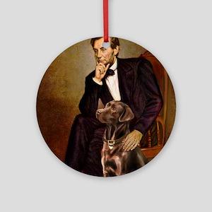 MP-Lincoln - Chocolate Labrador 11- Round Ornament
