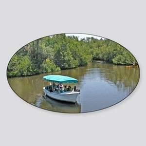 People on tour lake boat approachin Sticker (Oval)