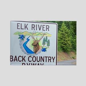 Road sign marking the Elk River B Rectangle Magnet