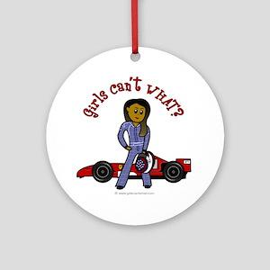 Dark Race Car Driver Ornament (Round)