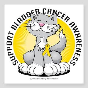 "Paws-for--Bladder-Cancer Square Car Magnet 3"" x 3"""