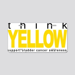 Bladder-Cancer-THINK-Yellow Aluminum License Plate