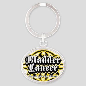 Bladder-Cancer-Tribal Oval Keychain