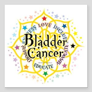 "Bladder-Cancer-Lotus Square Car Magnet 3"" x 3"""